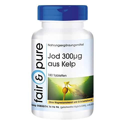 Iodio 300µg - Integratore naturale di iodio da Kelp - Fucus vesiculosus - Vegan - 180 Compresse