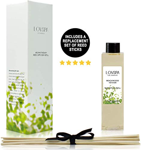 LOVSPA Beachwood Vetiver Reed Diffuser Oil Refill with Replacement Reed Sticks - Clean, Light, Airy Scent of Dried Coconut, Eucalyptus, Jasmine, Vetiver & Driftwood - Made in The USA