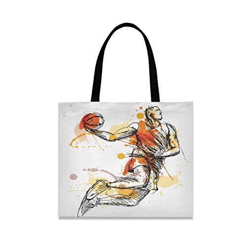 LZXO Canvas-Tragetasche, Aquarell, Sport, Basketball, natürlicher langer Griff, wiederverwendbar, Einkaufstasche mit Innentasche für Damen und Mädchen