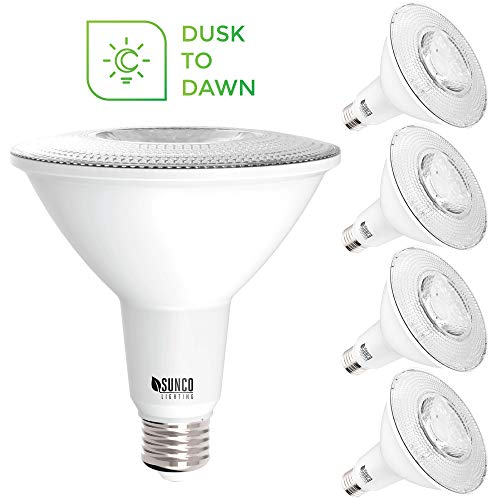 Sunco Lighting 4 Pack PAR38 LED Bulb with Dusk-to-Dawn Photocell Sensor, 15W=120W, 5000K Daylight, 1250 LM, Auto On/Off, Security Flood Light Indoor/Outdoor - UL