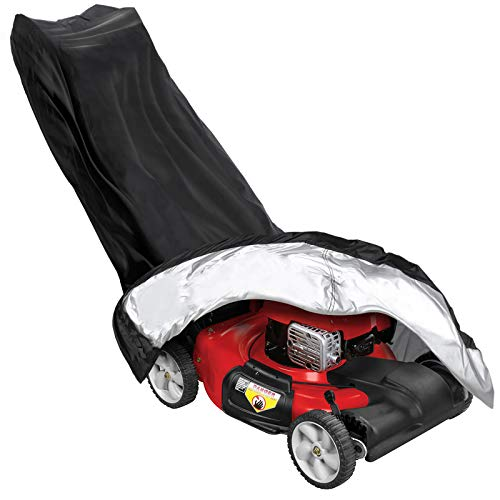 Tvird Lawn Mower Cover-420D Upgrade Premium Heavy Duty Oxford Push Mower Cover with Silver Coating,Anti UV&Dustproof&Waterproof with Drawstring,Storage Bag and Buckle for Universal Fit Size (Black)