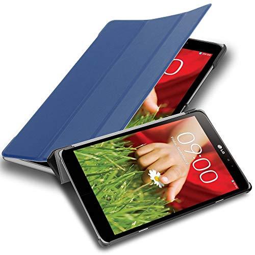 Cadorabo Tablet Hülle für LG G Pad 8.3 V500 in Jersey DUNKEL BLAU – Ultra Dünne Book Style Schutzhülle mit Auto Wake Up & Standfunktion aus Kunstleder