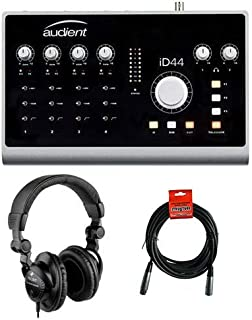 Audient iD44-20-Input/24-Output High-Performance AD/DA Interface & Monitoring System with HPC-A30 Studio Monitor Headphones and XLR-XLR Cable