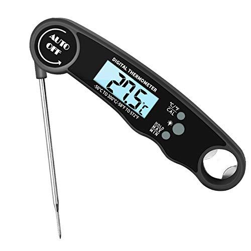 iMeshbean Digital Fleischthermometer, Küchenthermometer Instant Read Grillthermometer Lebensmittel Thermometer IP67 Wasserdicht LCD Bildschirm Bratenthermometer Kochthermometer Einstechthermometer