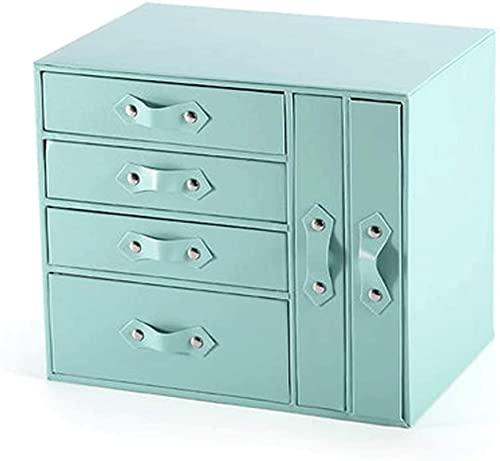 Caja de joyería de cuero, caja de joyería de escritorio, impermeable multifuncional de gran capacidad, para tachuelas, anillos, collares, relojes
