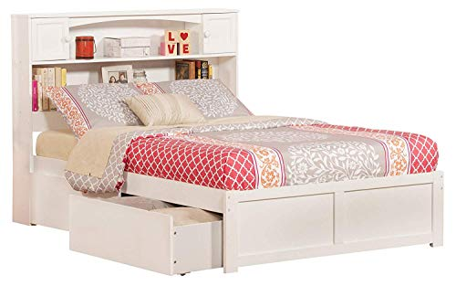 Atlantic Furniture Newport Platform 2 Urban Bed Drawers, Full, White