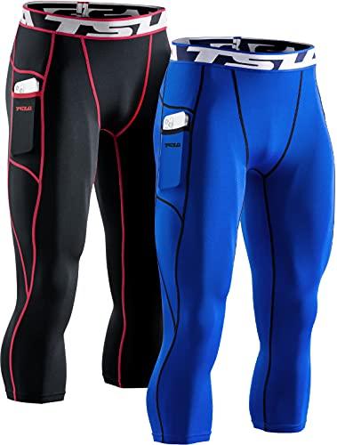 TSLA Mallas de compresión 3/4 para hombre, para correr, yoga, entrenamiento, atléticas, Hombre, Muc84 - Juego de 2 unidades, color negro, rojo y azul, large