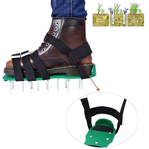 Wezest - Zapatos aireadores de césped para jardín, duraderos, con Punta, con Llave Inglesa, 26 Pinchos y Correas de Seguridad para un césped Verde