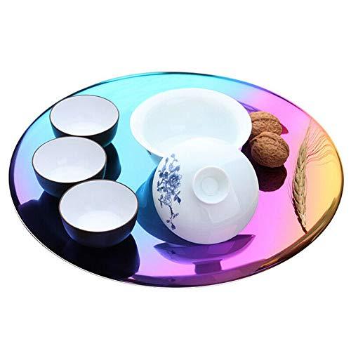 Vogueing Tool Bandeja de almacenamiento de acero inoxidable, bandeja decorativa minimalista nórdica, bandeja decorativa para frutas cosméticas, organizador de joyas Collect(arco iris)