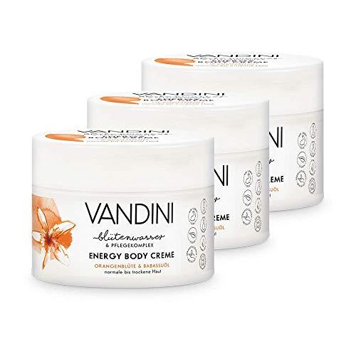 VANDINI Energy Body Creme Damen mit Orangenblüte & Babassuöl - Body Creme & Gesichtscreme für normale bis trockene Haut - vegane Body Creme für Frauen im 3er Pack (3x 200 ml)