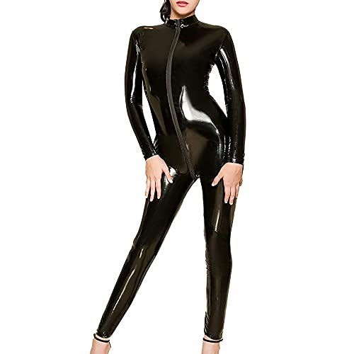 DULEE Damen Wetlook Faux Leder Zipper Ganzanzug Kostüm Nachtclub Clubwear Tanzen Bodysuit Jumpsuit Dessous,Black S