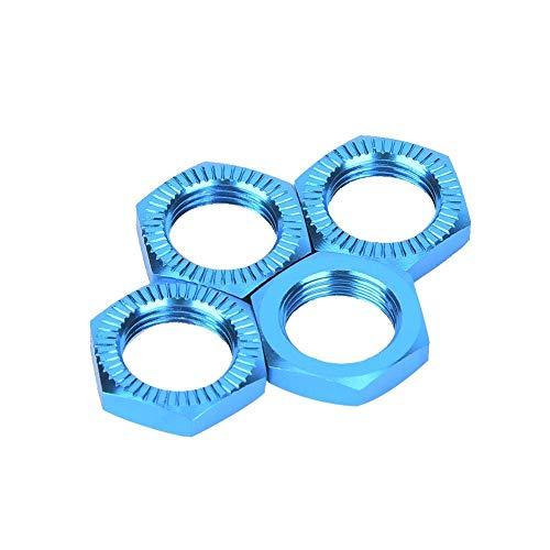Radmuttern, Aluminiumlegierung M12 Radmuttern 17mm Schraubenschlüssel Upgrade Teil Kompatibel mit 1/8 RC Auto(Blau)