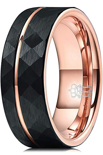 Three Keys Jewelry 8mm Tungsten Carbide Mens Hammered Wedding Band Ring with Rose Gold Interior & Stripe for Men Inlay Engrave Engagement Black Size Z4