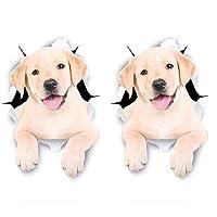 2 PCSカーステッカーキッチンキャビネットのトイレ冷蔵庫ウォールラップデカールのための3Dかわいい犬ステッカー 車用デコレーション (Color : 15cm)