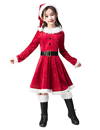 Takuvan Little Mrs. Santa Suit Girls Christmas Dress Outfit, Kids Halloween Cosplay Costume for Party M