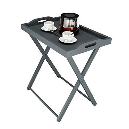 sogesfurniture Klappbarer Serviertablett, Kleiner Beistelltisch Sofatisch Servier für Frühstück, Kaffee, Snack als Tabletttisch, 56x37x62 cm, Grau BHEU-SYS1005