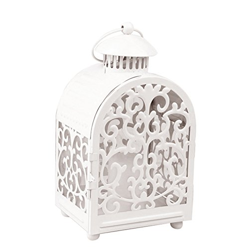 zzJiaCzs Retro Cage Carving Hollow Candlestick, Iron Craft Lighting Lantern Candle Holder Ornament White