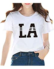 YoniStar レディース tシャツ 半袖 白 ゆったり 薄手 星柄 おしゃれ 丸首 プリント 大きいサイズ