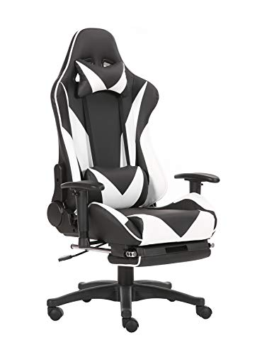 Brage Living Swivel Gaming Chair Ergonomic High-Back Racing Style PU Leather Office Chair with Headrest and Lumbar Support and Adjustable Armrest and Retractable Footrest BR1861001 - (Black/White) chair footrest gaming