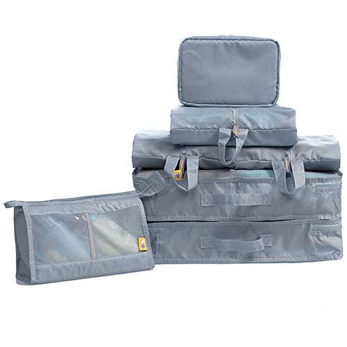 Organizadores de viajes Conjunto de 7 piezas Cubos de embalaje Organizadores de viaje Bolsas de compresión de equipaje Bolsas de almacenamiento de ropa a prueba de agua Bolsa de artículos de viaje dur