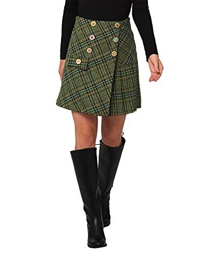 Joe Browns Tartan Check Skirt Falda, Verde, 38 para Mujer