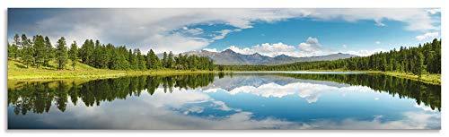 Artland Spritzschutz Küche aus Alu für Herd Spüle 180x50 cm Küchenrückwand mit Motiv Natur Landschaft See Bäume Berge Alpen Himmel Reflektion S6JS
