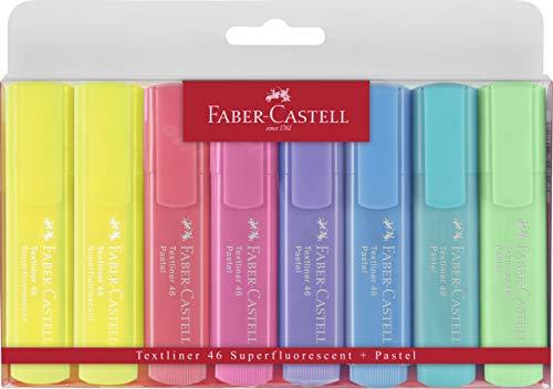 Faber-Castell - 154681,Evidenziatori Textliner colori pastello (confezione da 8)