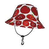 GAHAHA Sombrero de sol para bebés y niñas, tomates, niños pequeños, con correa ajustable para la barbilla, gorra de protección solar para el verano, al aire libre, escuela, pescador