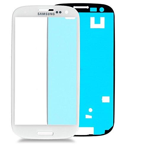 Samsung Galaxy S3 i9300 Glas in WEISS: Reparatur Set *NEU* mit Glas Scheibe und Kleber, Display withe, Frontscheibe komplett, Display-glass repair kit für S3, Ersatzteil für Glasscheibe