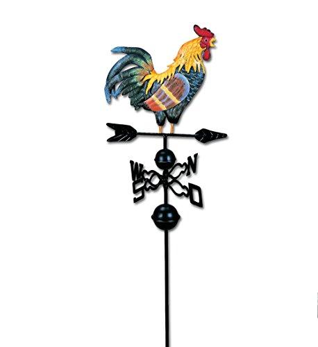 Dekoleidenschaft Hahn auf Windrad, aus Metall, Wetterfahne, Gartenstecker