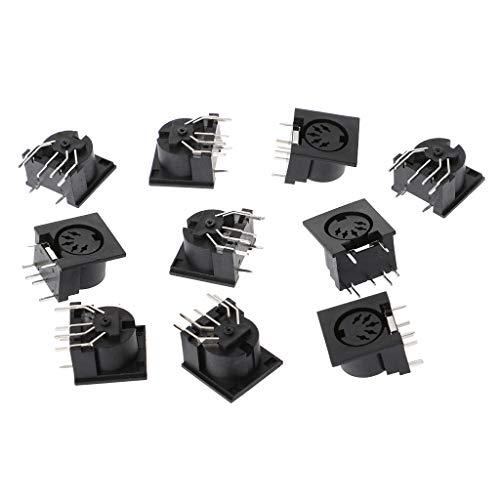 JOYKK 10 stuks/set bussendoos voor printplaat montage DIN5 DIN 5-pins Jack - zwart