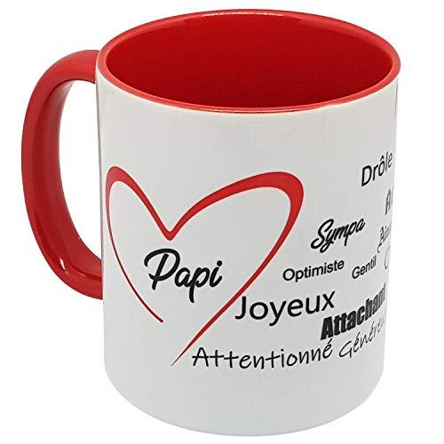 Kalféa - Taza de regalo con forma de asa roja para decir que 'Je t'aime a su Pap' con corazón rojo y muchos cumplimentes'