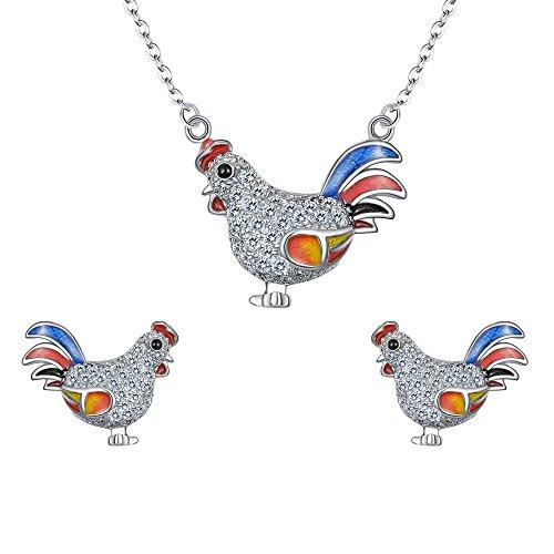 EVER FAITH Damen 925 Sterling Silber Zirkonia Bunt Enamel Rooster Tier Halskette Stud Ohrringe Set klar