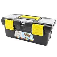 10インチ12.5インチ多機能機器部品ハードウェアツール収納ボックスABSプラスチックツールボックス電気技師ボックス(黒と黄色10インチ)