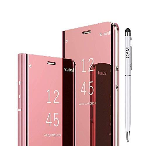 Xiaomi Mi 8 Lite capa flip espelhada, capa com suporte galvanizado de luxo, capa inteligente com proteção de tela, cobertura total, película flexível para Xiaomi Mi 8 Lite (ouro rosa)