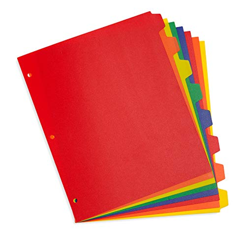 Blue Summit Supplies 8 Tab Plastic Dividers, Assorted Colors, 8 Tab Index Dividers with 3 Hole Punch, for Notebooks and 3 Ring Binders, Letter Size, Heavy Duty Plastic, Set of 3, 24 Dividers