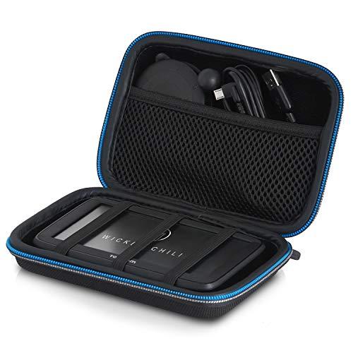 Wicked Chili Navi Case AntiShock Tasche kompatibel mit Tomtom Start Go, Via, Trucker, Rider und Navigationsgeräte 4,3-5 Zoll (max. Gerätemaße: 15 x 10 x 4.5 cm/Fach für Ladekabel) schwarz