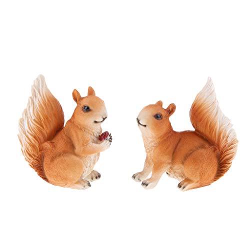 1 Paar Realisierte Eichhörnchen Dekofigur Gartendeko für innnen/Außendeko, wie echt ausgeseht