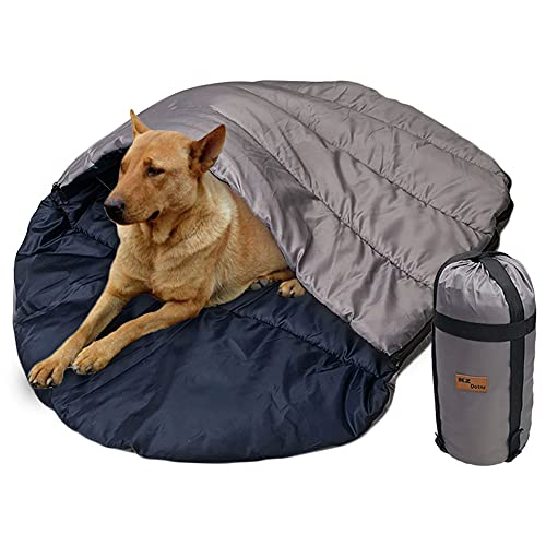 KZ Dotnz Soft Warm Dog Sleeping Bag, XXL Portable Waterproof Camping Pet Bed, Packable Dog Bed for...