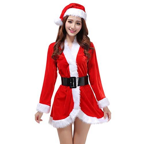 YOUJIA Weihnachtsmann-Kostüm Langarm Damen Nikolaus Cosplay Weihnachtskleid Party Christkind Kleid (Rot)