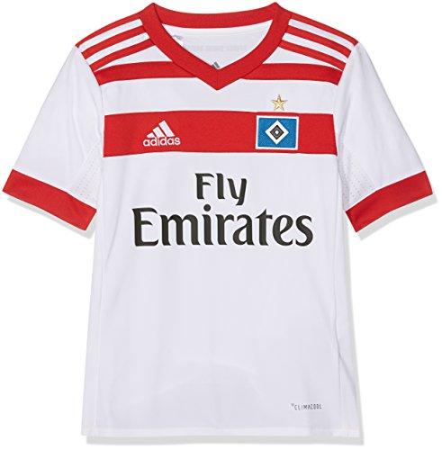 adidas Kinder Hamburger SV Heim Trikot, White/Scarlet, 128
