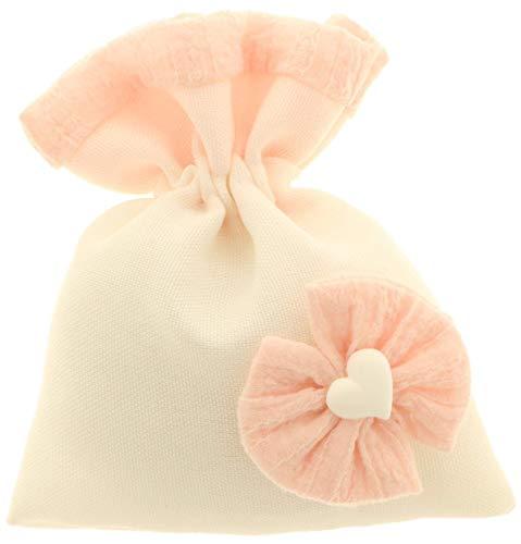 12 PEZZI LIGHT BAG Sacchetto rosa portaconfetti fiocco cuore bomboniera