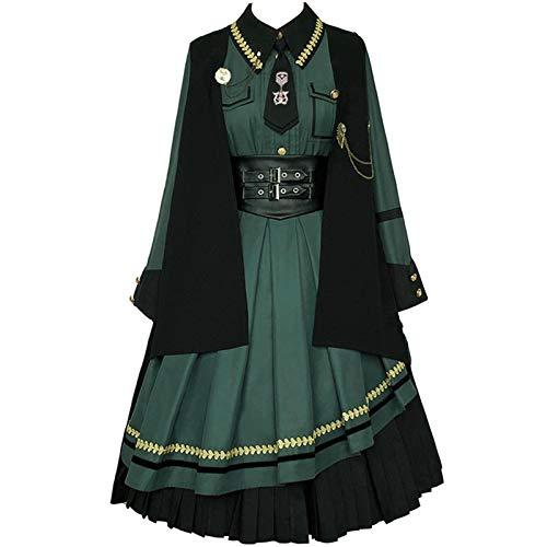 Yunbai Vintage Lolita Kleid Antikes Kleid Für Frauen Kostüm Herbst Winter Cool Girl Retro Sailor Kragen Hohe Taille Cosplay (Color : Cloak and Dress Set, Size : Small)