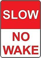 スローノーウェイク.金属スズサイン通知街路交通の危険警告耐久性、防水性、防錆性