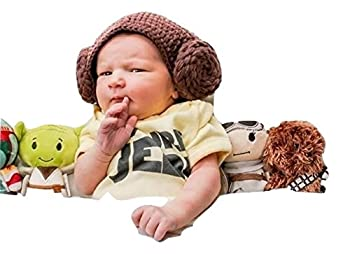 Star War Handmade Crochet Hat Beanie Princess Leia Stormtrooper Chewbacca Boba Fett BB-8 BB8 - Varies with Milk Cotton Yarn  Princess Leia 0-3 Months