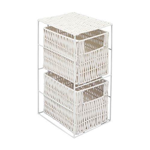 Woodluv 2 Drawer White Resin Tower Storage Unit(E01-113)