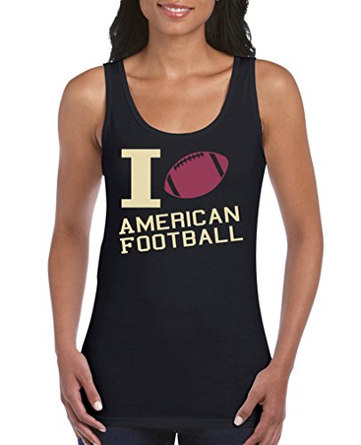 Comedy Shirts - I Love American Football - Damen Tank Top - Schwarz/Beige-Fuchsia Gr. M
