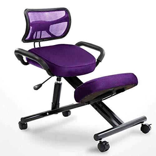 QLGRXWL Kniestuhl Bürostühle Computerstuhl Ergonomische Höhe verstellbar, Mit Stuhlrad, Mit Rückenstütze (4 Farben erhältlich),Lila