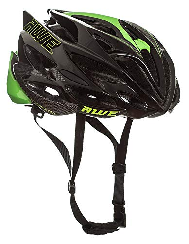 AWE® AWESpeedTM FREE 5 YEAR CRASH REPLACEMENT* In Mould Adult Mens Road Cycling Helmet 56-58cm Black/Green by AWE