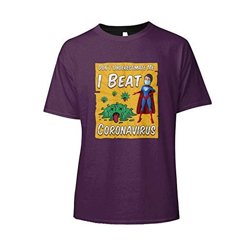 I Beat Córonaaaaavirus Dont Underestimate Me Slim Fit T-Shirt Fun Graphic T Shirts- Cheap Cool Shirts For Men- Mens Tee Design- Running Women Customize T-Shirt